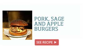 Pork, sage and apple burgers >