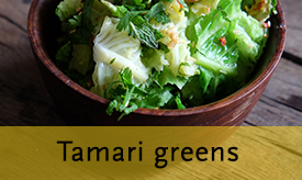 Tamari greens with cashews and ginger >