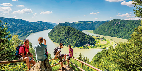 A group of friends overlooking the Danube