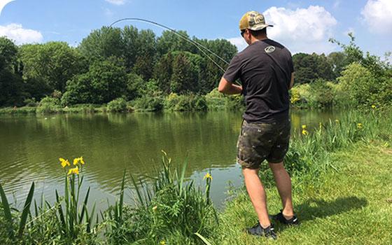 Angler summer fishing